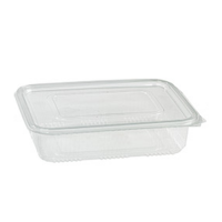 Rectangular clear PET box with hinged lid 1700ml 230x175mm H65mm
