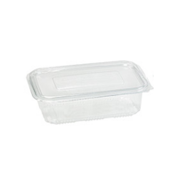 Ensaladera transparente PET con tapa bisagra 1 350ml 230x175mm H55mm