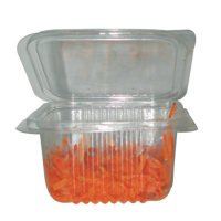 Square clear PET box with hinged lid 375ml 180x120mm H60mm
