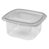 Square clear PET box with hinged lid 375ml 100x94mm H56,5mm
