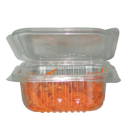 Square clear PET box with hinged lid 1500ml 255x162mm H82mm