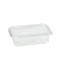 Rectangular clear PET box with hinged lid 500ml   H50mm