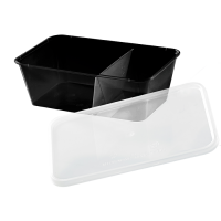 Black rectangular PP plastic 2-compartments box with transparent lid 750ml 175x120mm H60mm