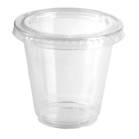 Clear round PP plastic portion cup with flat PET lid 165ml Ø74mm  H62mm