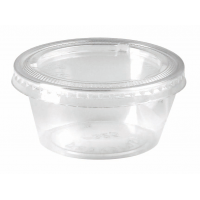 Clear round PP plastic portion cup with flat PET lid 75ml 62mm  H35mm