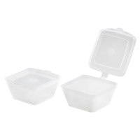 Square PP portion cup with hinged lid 35ml 53x65mm H26mm