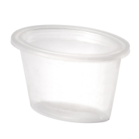 Translucent oval PP plastic portion cup with flat lid 120ml 86x60mm H50mm