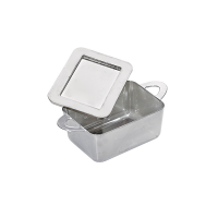 """Loukia"" silver PS plastic mini rectangular casserole dish with handles  95x53mm H35mm"