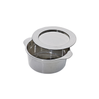 Round silver PS plastic mini dish with lid  Ø69mm  H34mm