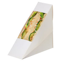 Triangle sandwich simple carton blanc à fenêtre  123x52mm H123mm