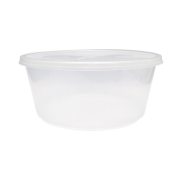 Clear round PP plastic box with lid 3000ml Ø237mm  H102mm
