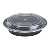 Round black PP box with transparent lid 1000ml 185mm  H53mm