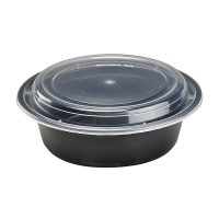 Round black PP box with transparent lid 1 000ml Ø185mm  H55mm