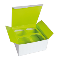 Cardboard cupcake box with green insert (for 4 pcs)  170x170mm H85mm