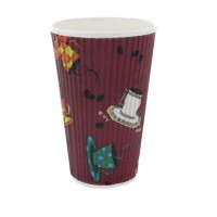 """Teacup"" rippled wall paper cup 400ml Ø90mm  H135mm"