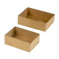 Brown cardboard pastry box without lid  160x120mm H45mm