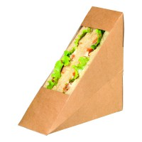 Kraft cardboard simple sandwich wedge with PLA window  55x120mm H120mm