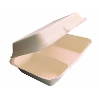 Sugarcane fibre clamshell meal box with 2 compartments 1000ml 245x165mm H65mm