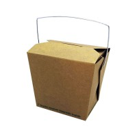 Kraft cardboard biodegradable pail box with handle 450ml 95x73mm H90mm