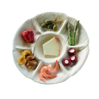 Round palm leaf plate with seven compartment  Ø295mm  H30mm