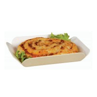 Thermoformed wooden tray with paper liner  165x130mm H30mm