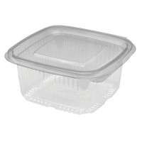 Square clear PET box with hinged lid 500ml 111x105mm H56,5mm