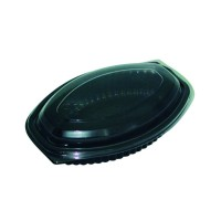Black oval PP plastic container 400ml 207x143mm H27mm