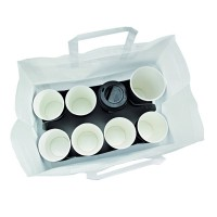 White cardboard take-away tray/insert for 8 cups  300x170mm H170mm