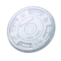Clear PLA flat lid with C shape opening  Ø96mm