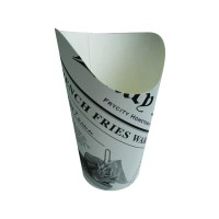 White cardboard wrap cup with newsprint design  Ø88mm  H133mm