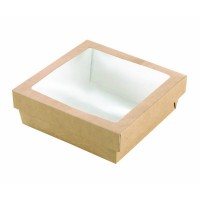 """Brown square """"Kray"""" cardboard box with PLA window lid 3000ml   H50mm"""