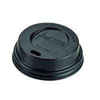 Black PS plastic coffee cup lid with hole  Ø62mm  H20mm