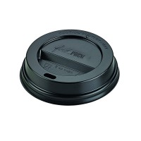 Black PS plastic coffee cup lid with hole  Ø80mm  H20mm