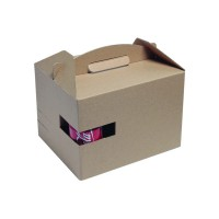 "Kraft ""LunchNGo"" box with cup holder  300x200mm H175mm"