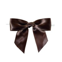 Brown satin bow with link  86