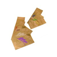 Kraft/brown paper bread bag with white design  240x80mm H410mm
