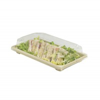 """""""Itto"""" pulp fiber sushi tray with clear PS lid  216x135mm H40mm"""