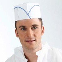 White paper forage cap with blue stripe  270x80mm