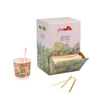 Wooden coffee stirrer with rounded end in dispenser box  5 H110mm
