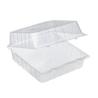 Transparent plastic blister box with hinged lid  220x220mm H100mm