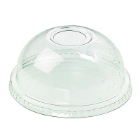 Clear PLA dome lid with hole  Ø92mm  H40mm