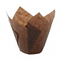 "Dark brown ""tulip"" greaseproof paper baking case  Ø30mm  H60mm"