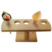 Bamboo temaki and cone display 5 holes  235x80mm H95mm