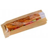 Kraft paper sandwich bag with window  120x40mm H340mm