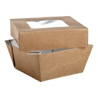 """Brown square """"Kray"""" cardboard box with window lid 200ml 85x85mm H40mm"""