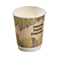 Double wall PLA paper cup 340ml Ø90mm  H110mm