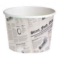 "White cardboard ""Deli"" container with newspaper print 650ml Ø114mm  H99mm"