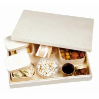 """""""Saga"""" lunch box with a set of 4 wooden boxes and cutlery  430x290mm H68mm"""