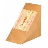 Triangle sandwich kraft double à fenêtre  72x123mm H123mm