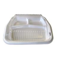 White plastic 3-compartments clamshell  220x250mm H30mm